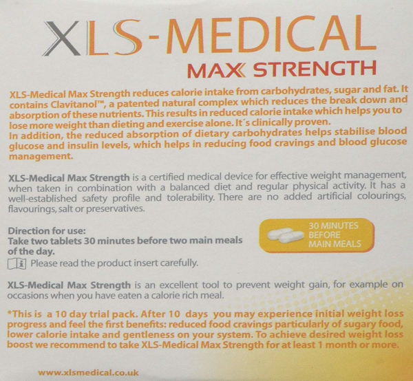 XLS Medical Max Strength ingredients